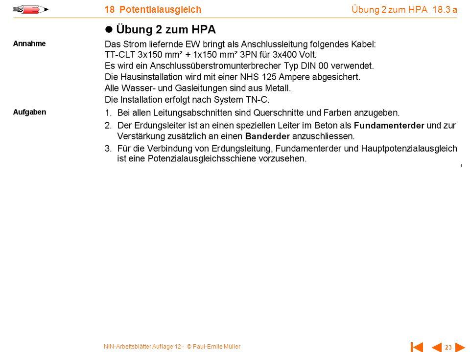 Übung 2 zum HPA 18.3 a 18 Potentialausgleich