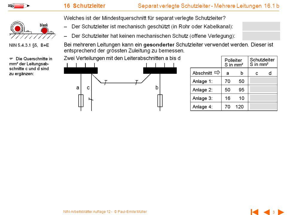 Separat verlegte Schutzleiter - Mehrere Leitungen 16.1 b