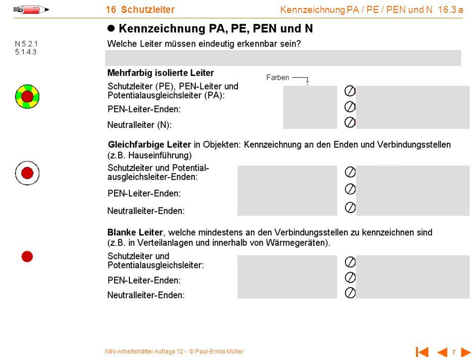 Kennzeichnung PA / PE / PEN und N 16.3 a