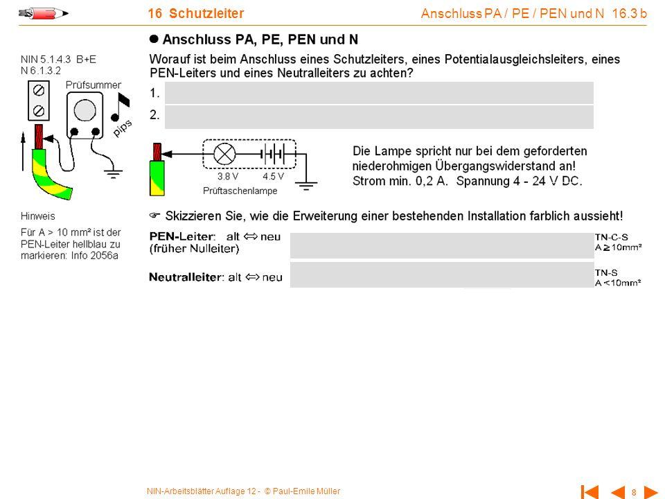 Anschluss PA / PE / PEN und N 16.3 b