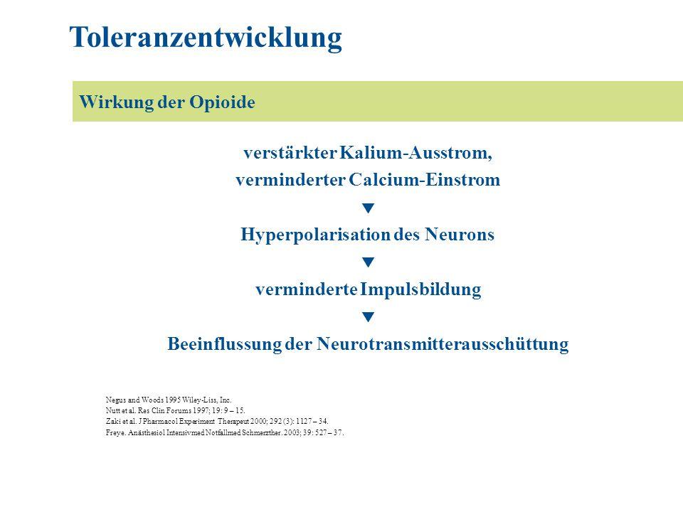 Toleranzentwicklung Wirkung der Opioide