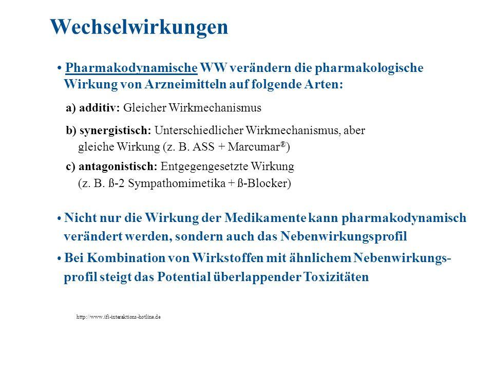Wechselwirkungen • Pharmakodynamische WW verändern die pharmakologische. Wirkung von Arzneimitteln auf folgende Arten: