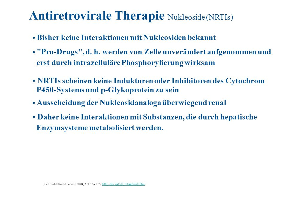 Antiretrovirale Therapie Nukleoside (NRTIs)