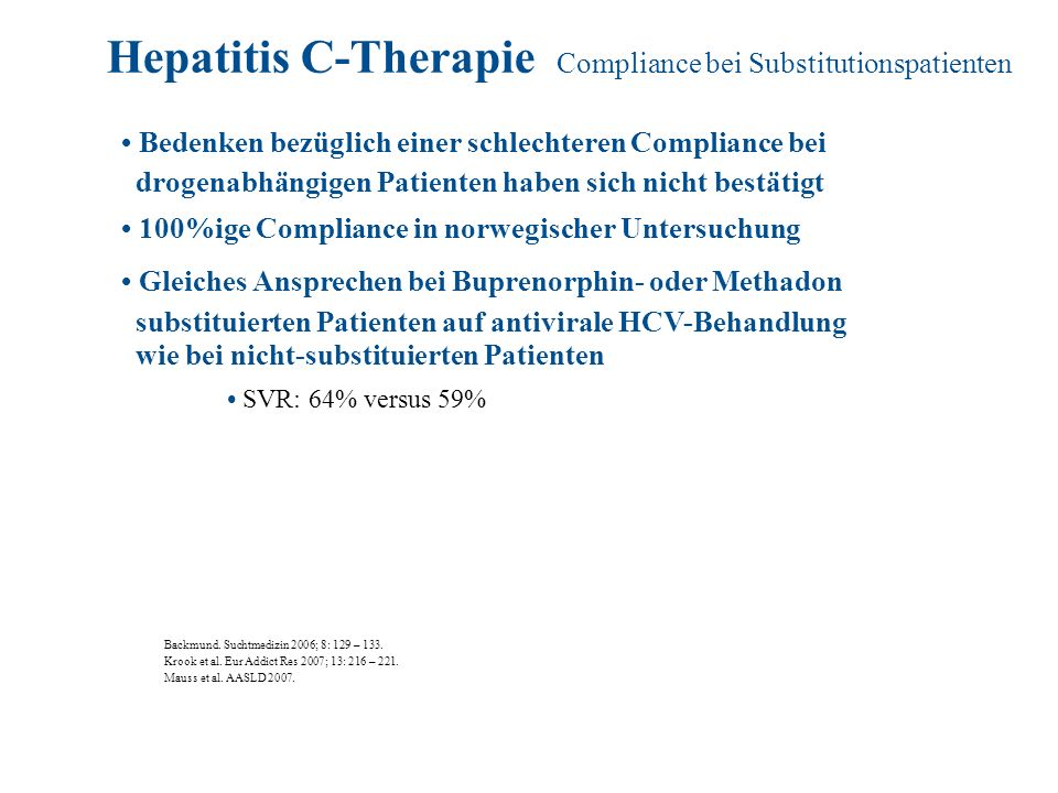 Hepatitis C-Therapie Compliance bei Substitutionspatienten