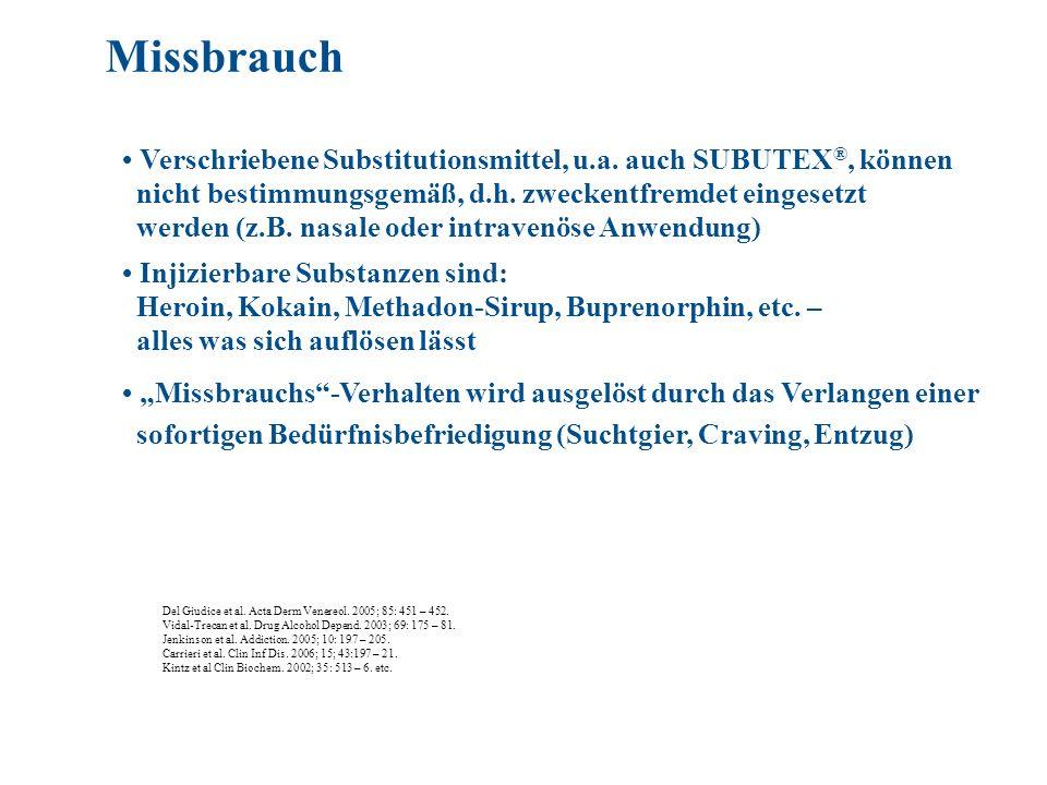 Missbrauch • Verschriebene Substitutionsmittel, u.a. auch SUBUTEX®, können. nicht bestimmungsgemäß, d.h. zweckentfremdet eingesetzt.