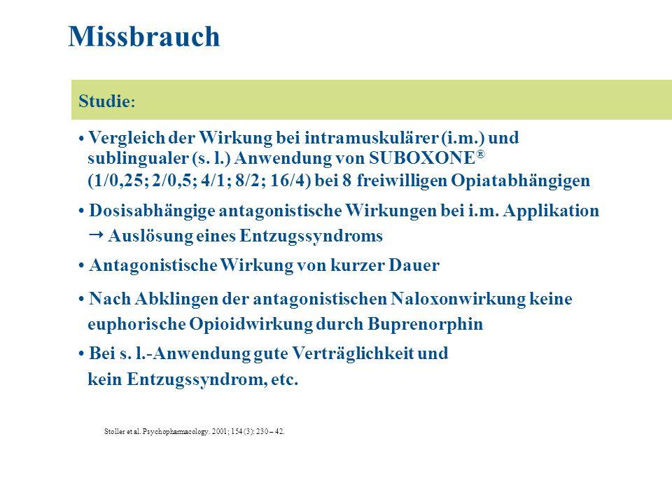 Missbrauch Studie: sublingualer (s. l.) Anwendung von SUBOXONE®