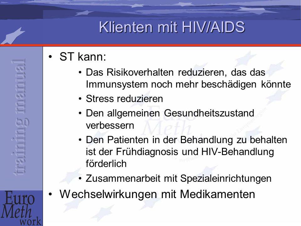 Klienten mit HIV/AIDS ST kann: Wechselwirkungen mit Medikamenten