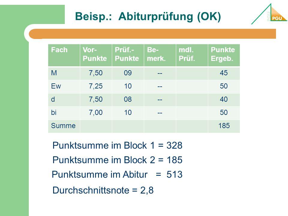 Beisp.: Abiturprüfung (OK)