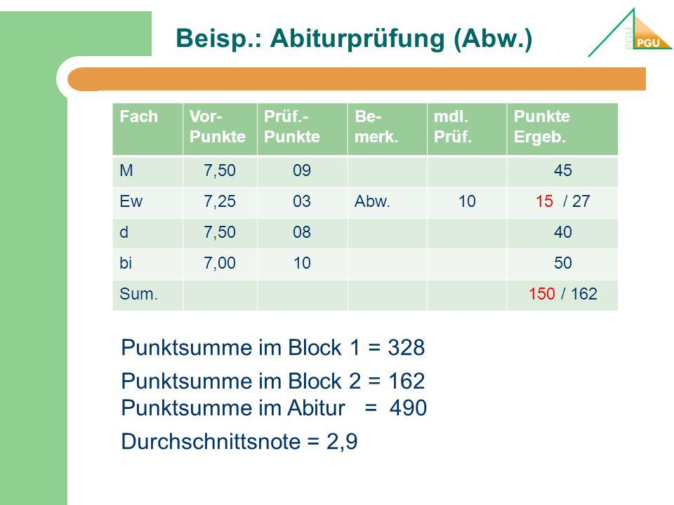 Beisp.: Abiturprüfung (Abw.)