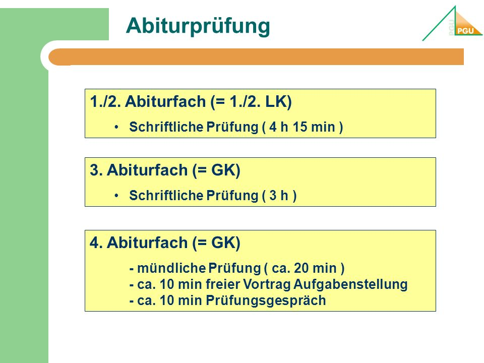 Abiturprüfung 1./2. Abiturfach (= 1./2. LK) 3. Abiturfach (= GK)