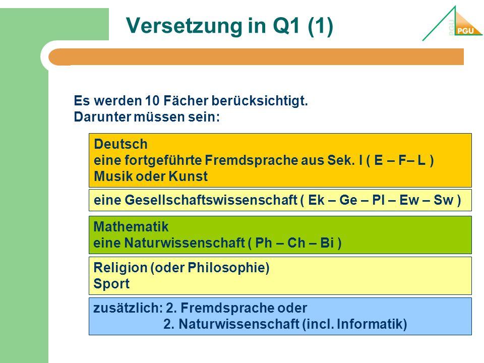 Versetzung in Q1 (1) Es werden 10 Fächer berücksichtigt.