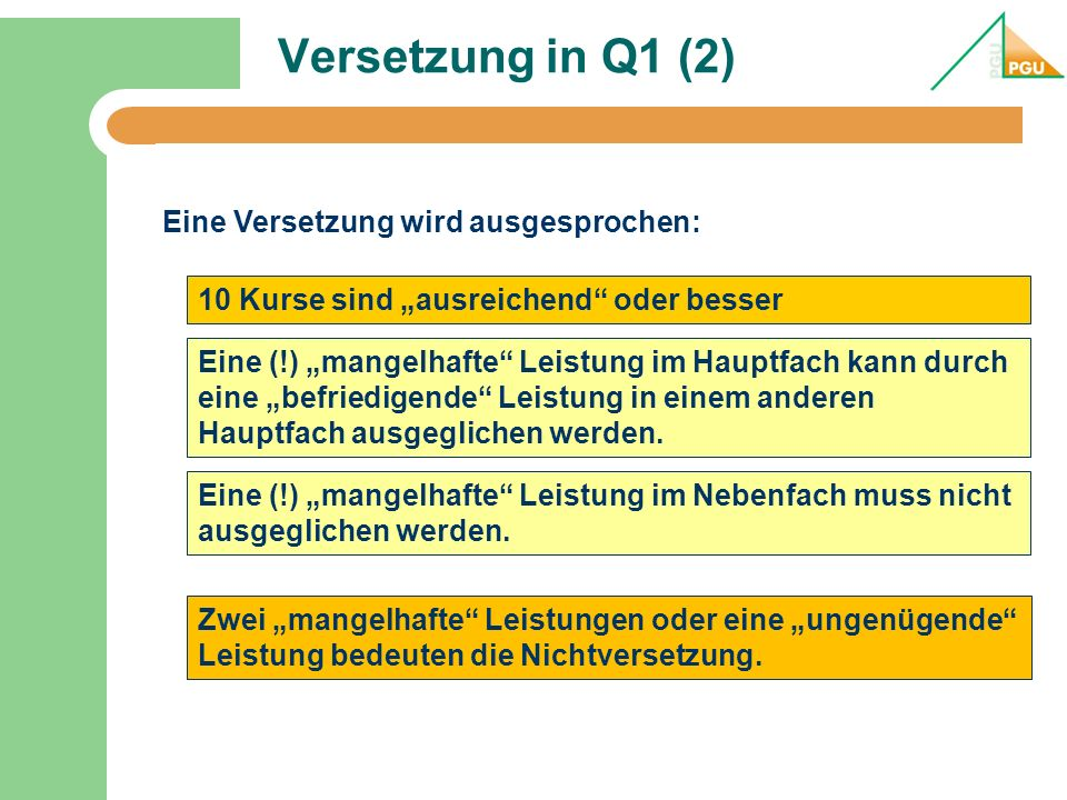 Versetzung in Q1 (2) Eine Versetzung wird ausgesprochen: