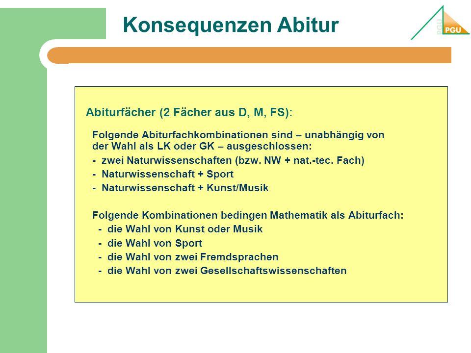 Konsequenzen Abitur Abiturfächer (2 Fächer aus D, M, FS):