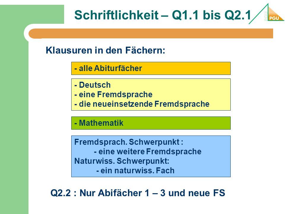 Schriftlichkeit – Q1.1 bis Q2.1