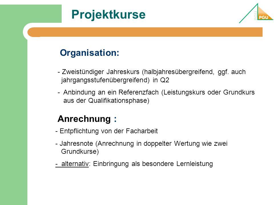 Projektkurse Organisation: Anrechnung :