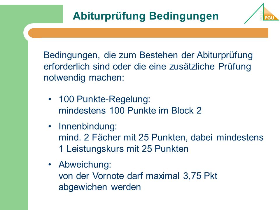 Abiturprüfung Bedingungen