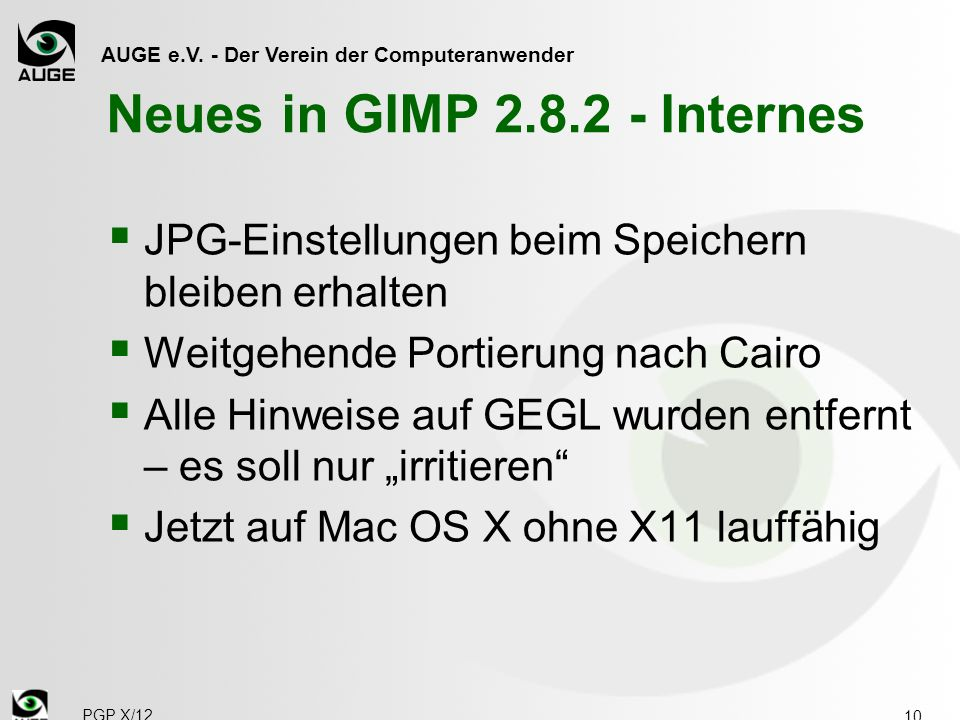 Neues in GIMP 2.8.2 - Internes