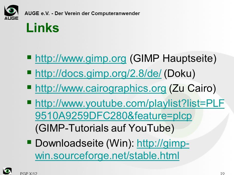 Links http://www.gimp.org (GIMP Hauptseite)