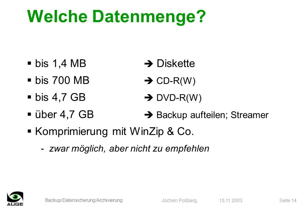 Welche Datenmenge bis 1,4 MB  Diskette bis 700 MB  CD-R(W)