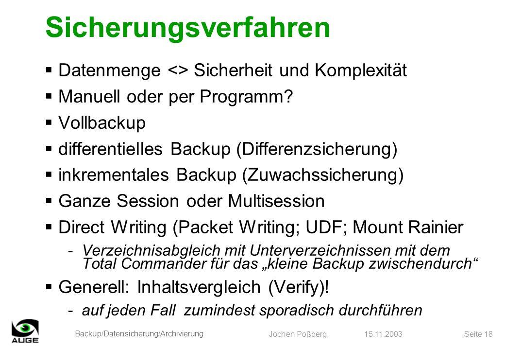 Sicherungsverfahren Datenmenge <> Sicherheit und Komplexität