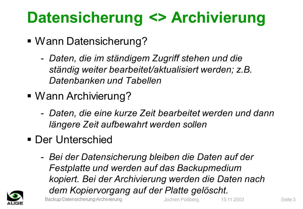 Datensicherung <> Archivierung