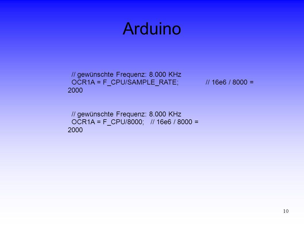 Arduino // gewünschte Frequenz: 8.000 KHz