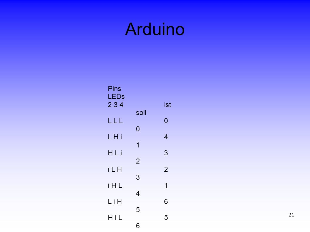 Arduino Pins LEDs 2 3 4 ist soll L L L 0 0 L H i 4 1 H L i 3 2