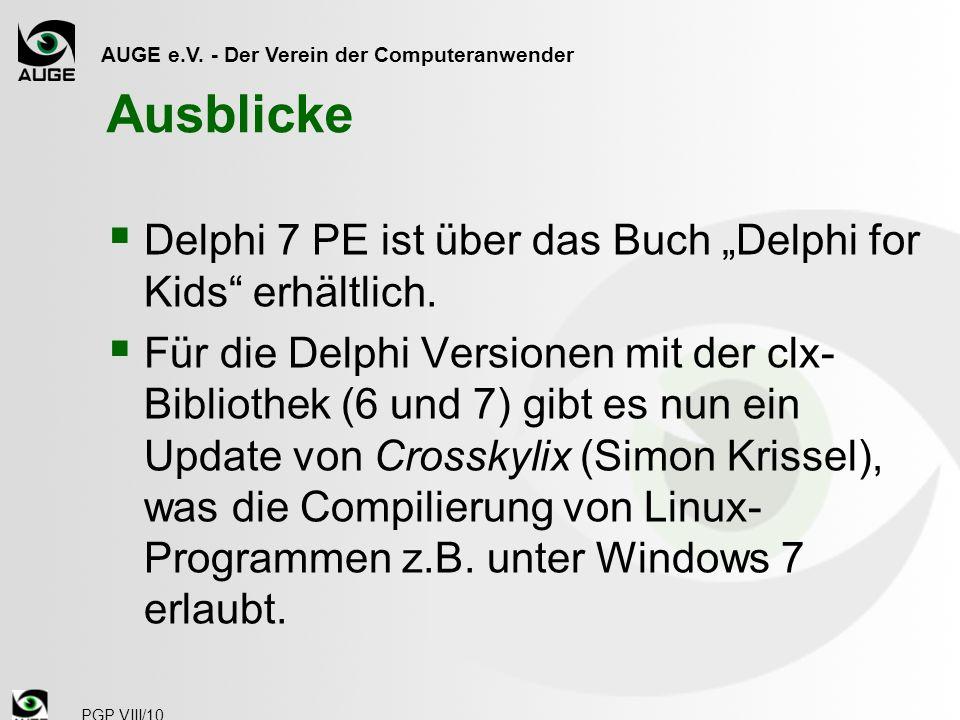 """Ausblicke Delphi 7 PE ist über das Buch """"Delphi for Kids erhältlich."""