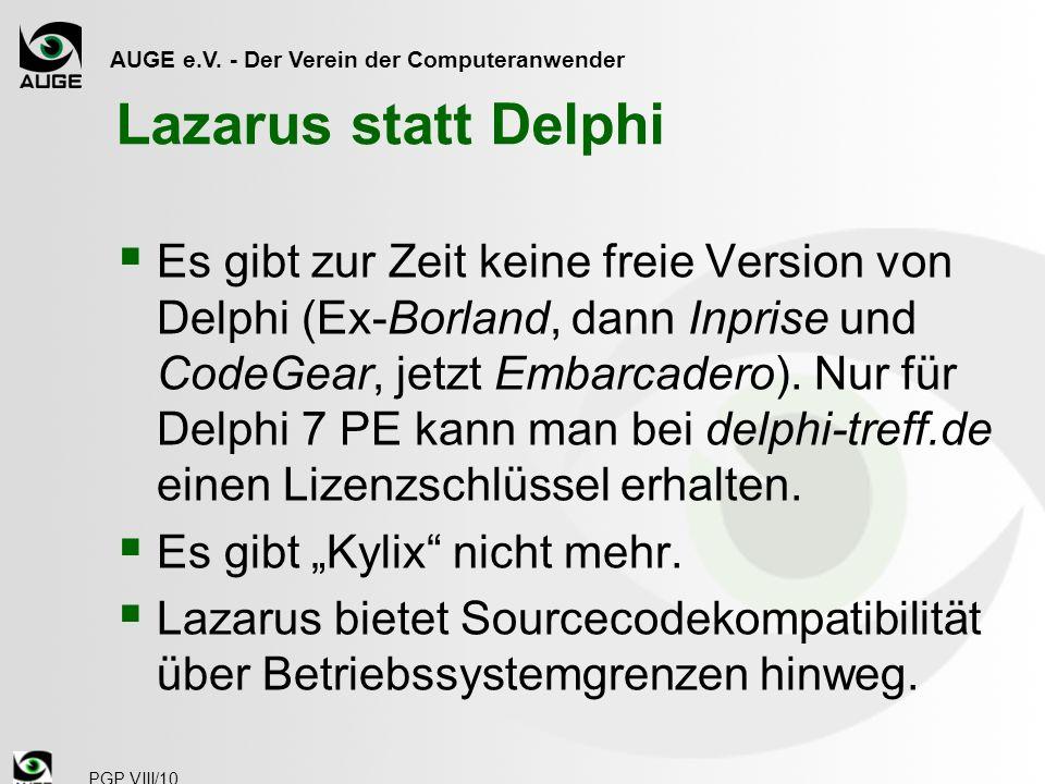 Lazarus statt Delphi