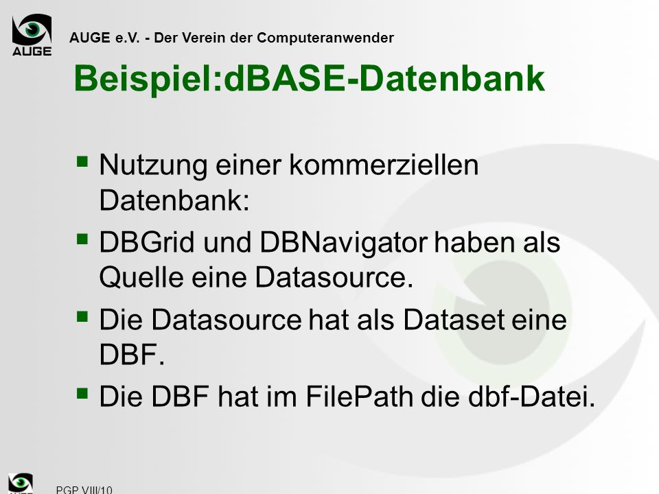 Beispiel:dBASE-Datenbank
