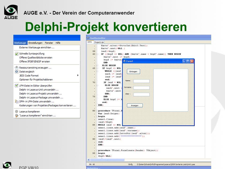 Delphi-Projekt konvertieren
