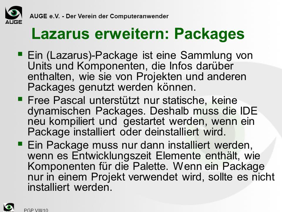 Lazarus erweitern: Packages