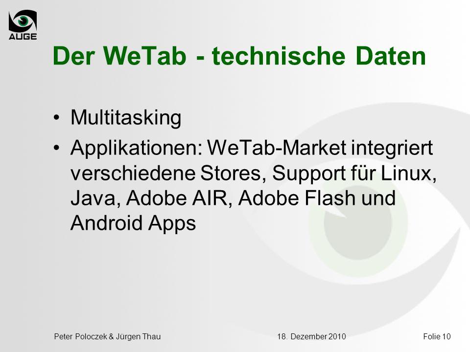 Der WeTab - technische Daten