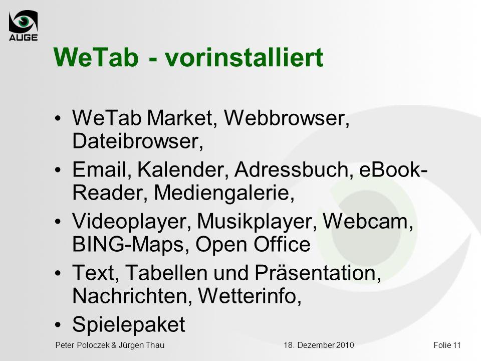 WeTab - vorinstalliert