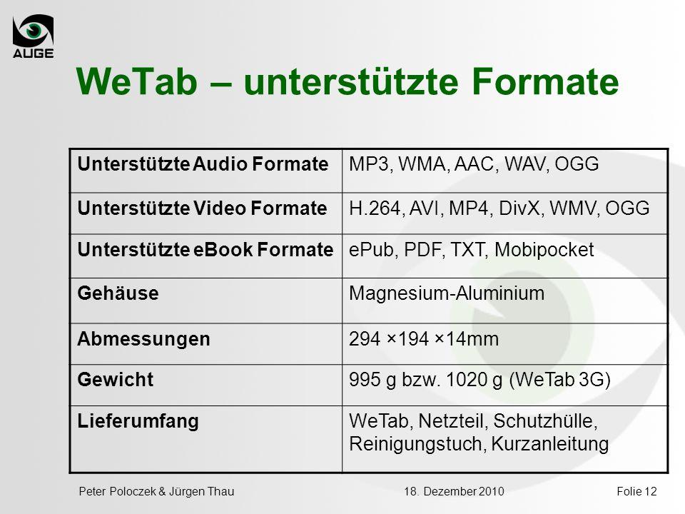 WeTab – unterstützte Formate