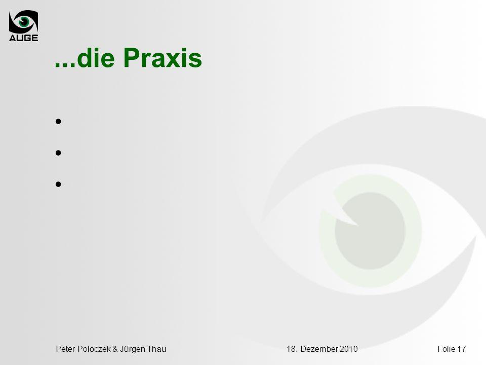 ...die Praxis Peter Poloczek & Jürgen Thau 18. Dezember 2010