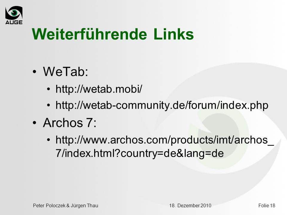 Weiterführende Links WeTab: Archos 7: http://wetab.mobi/