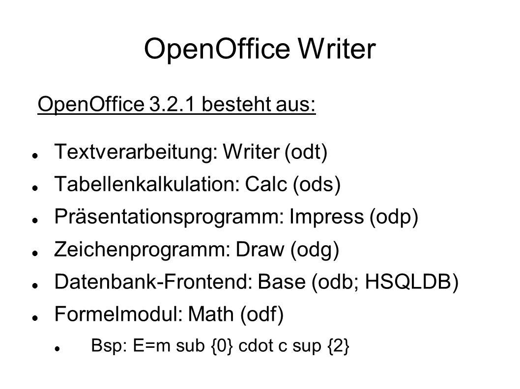 OpenOffice Writer OpenOffice 3.2.1 besteht aus:
