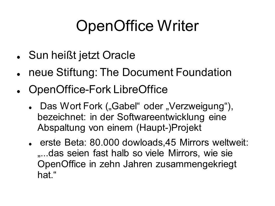 OpenOffice Writer Sun heißt jetzt Oracle