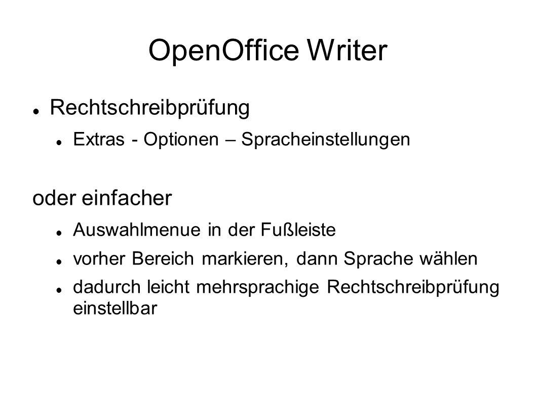 OpenOffice Writer Rechtschreibprüfung oder einfacher