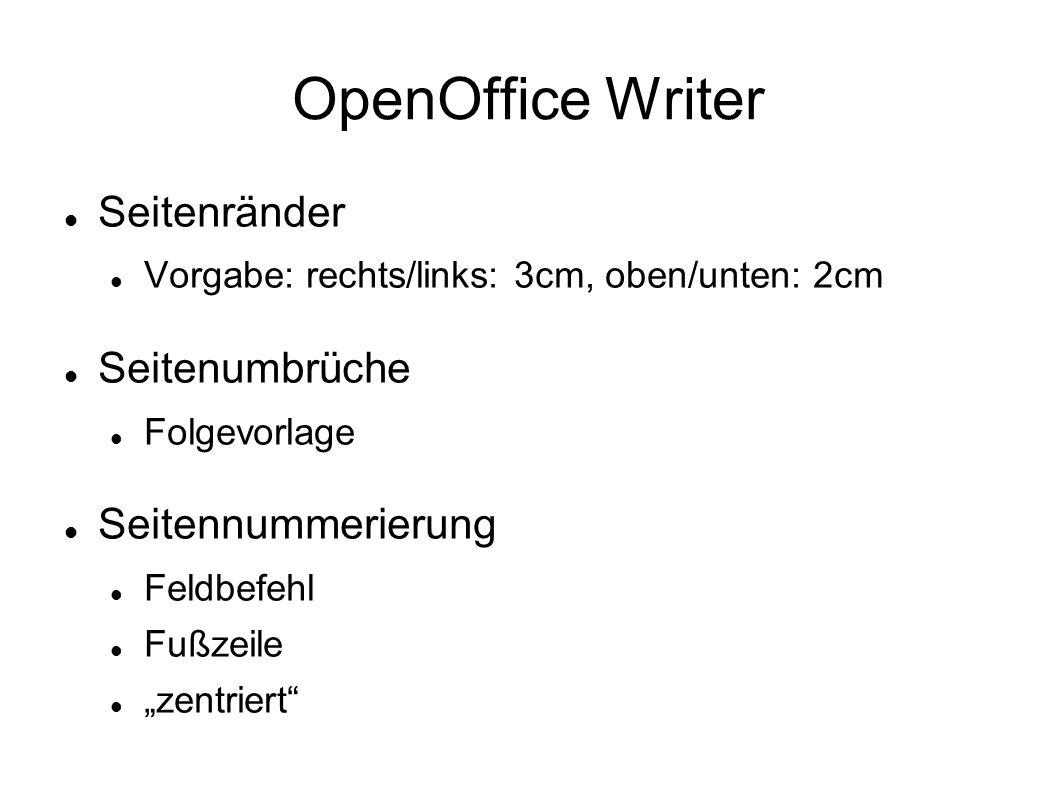 OpenOffice Writer Seitenränder Seitenumbrüche Seitennummerierung
