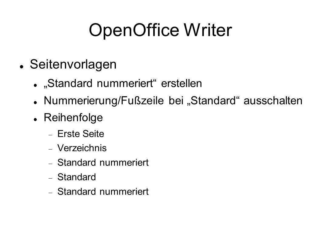 """OpenOffice Writer Seitenvorlagen """"Standard nummeriert erstellen"""