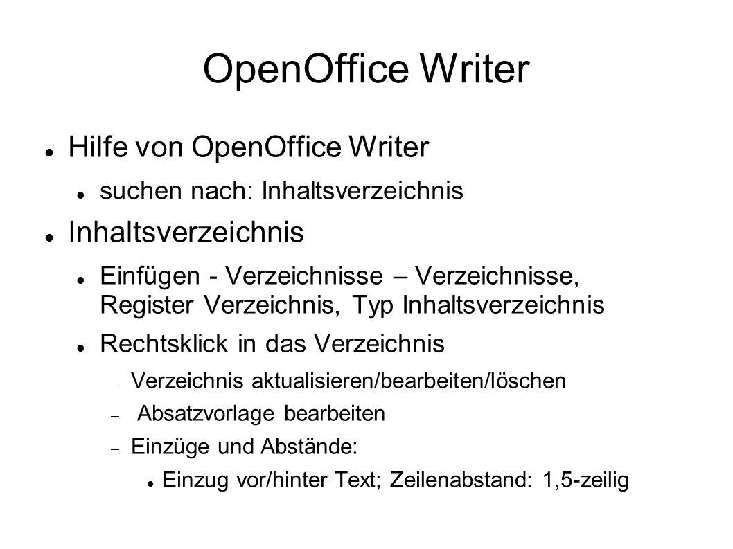 OpenOffice Writer Hilfe von OpenOffice Writer Inhaltsverzeichnis