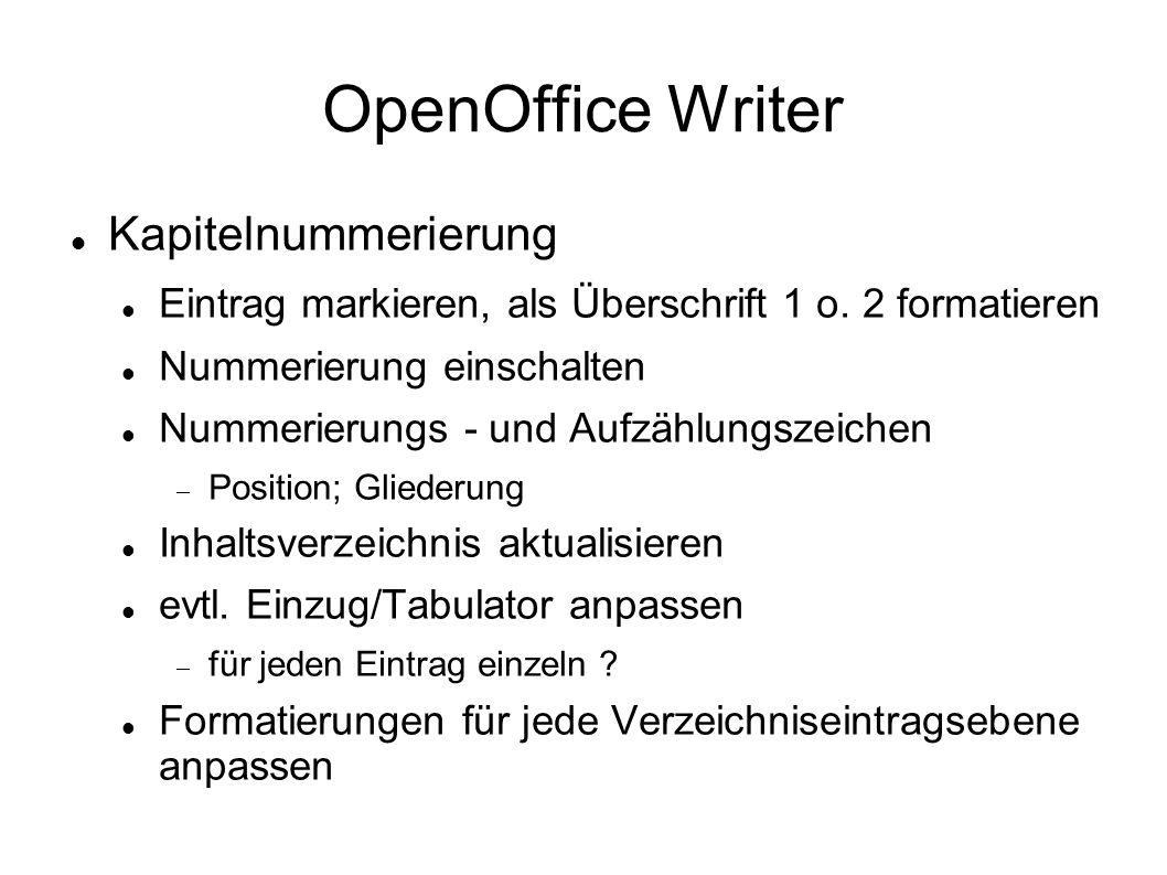 OpenOffice Writer Kapitelnummerierung