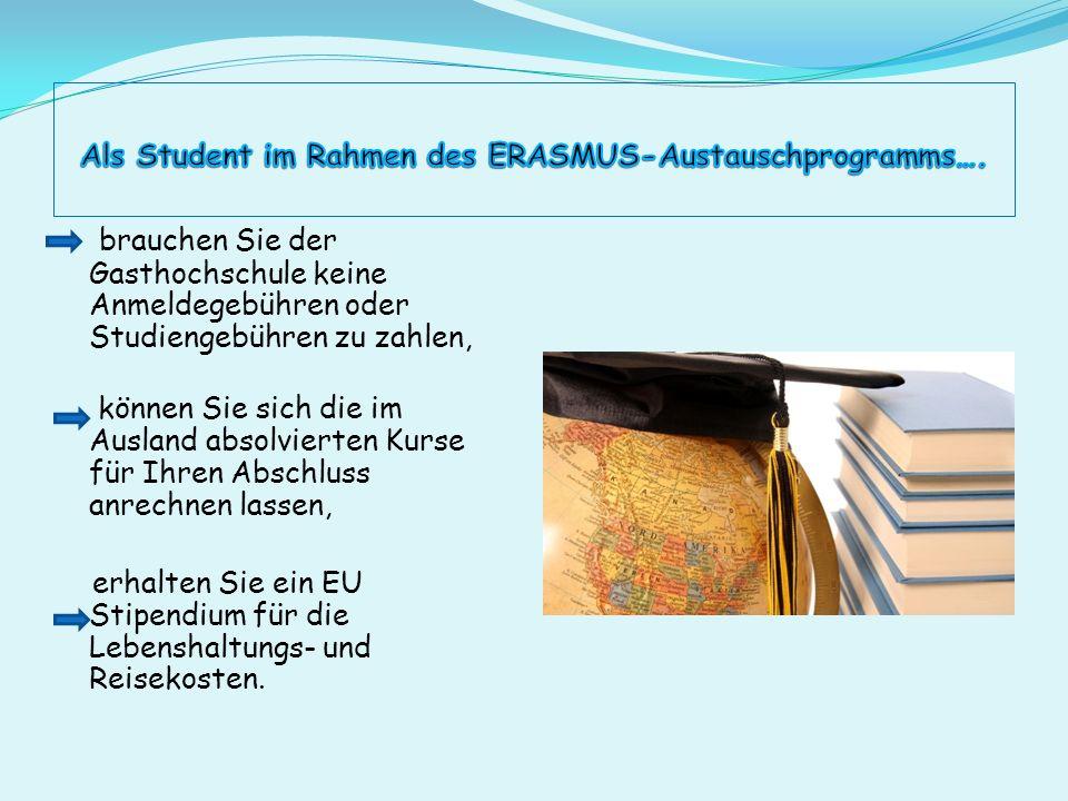 Als Student im Rahmen des ERASMUS-Austauschprogramms….
