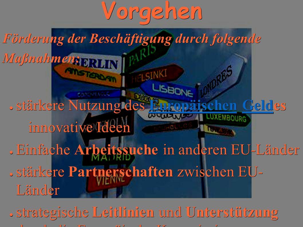 Vorgehen stärkere Nutzung des Europäischen Geldes innovative Ideen