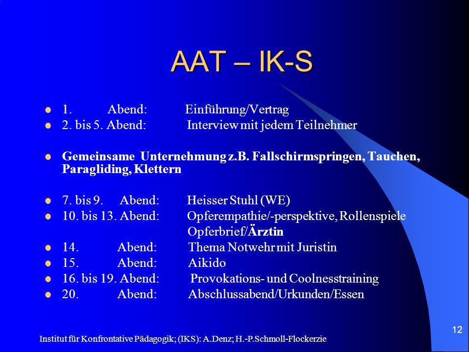 AAT – IK-S 1. Abend: Einführung/Vertrag