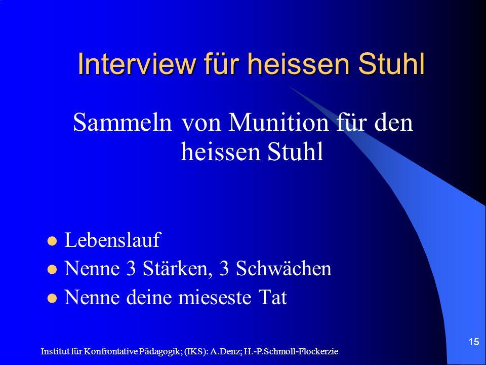 Interview für heissen Stuhl
