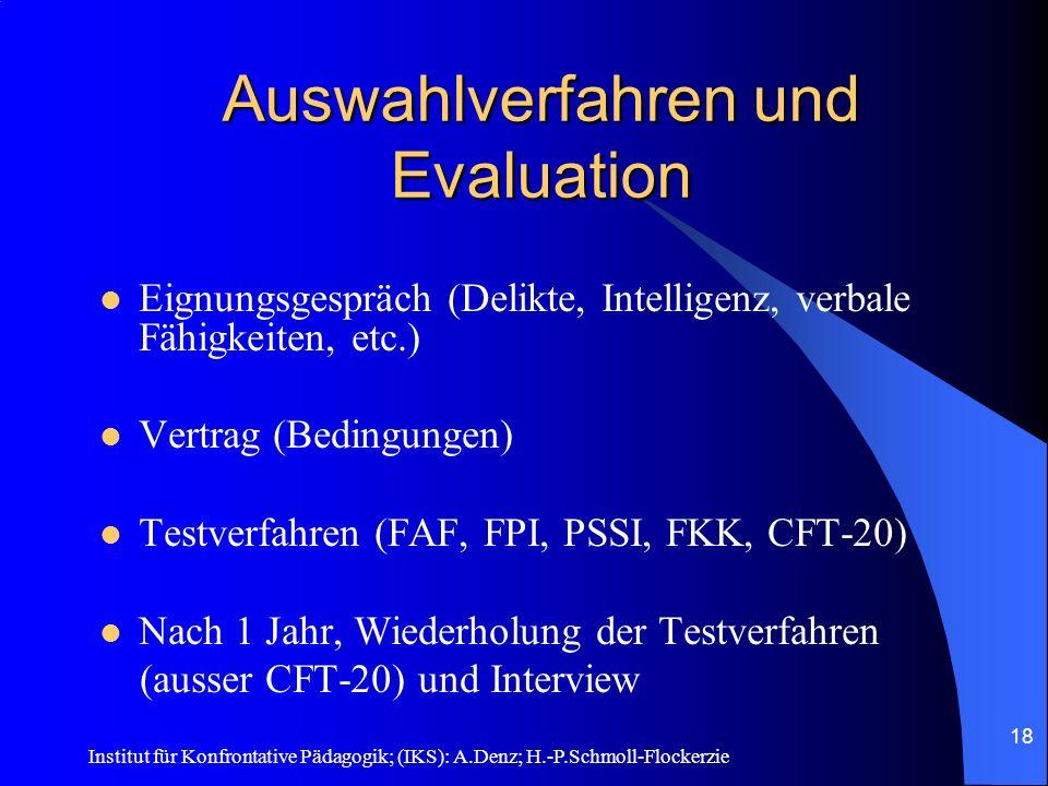 Auswahlverfahren und Evaluation