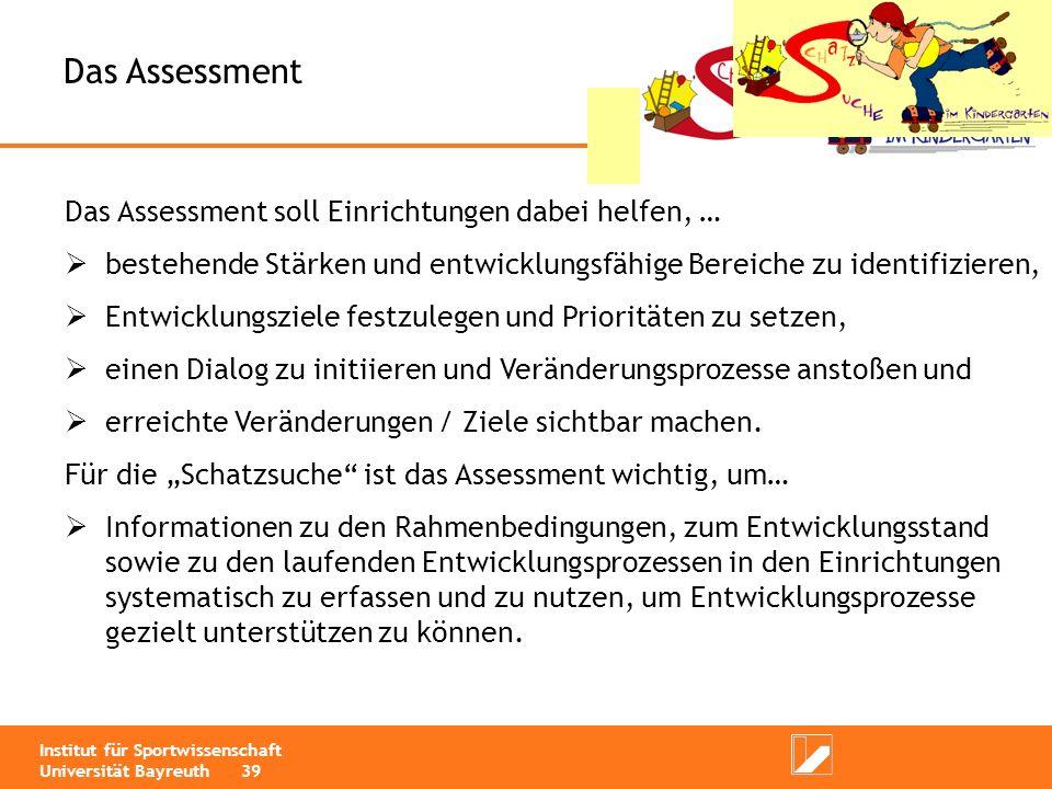 Das Assessment Das Assessment soll Einrichtungen dabei helfen, …